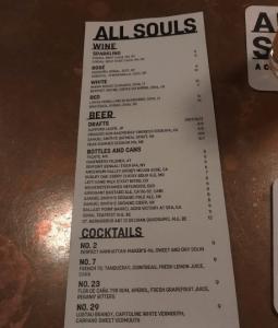 All Souls Bar Menu