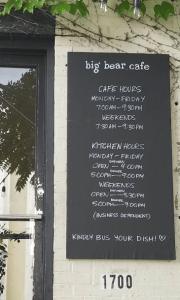 Big Bear Cafe Menu