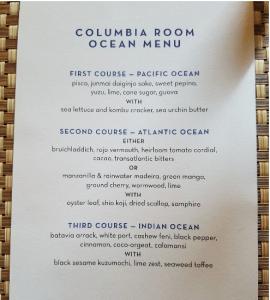 Columbia Room bar Menu