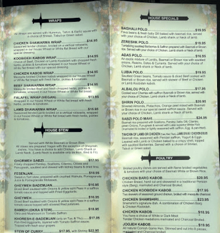 Shamshiri Grill Restaurant menu