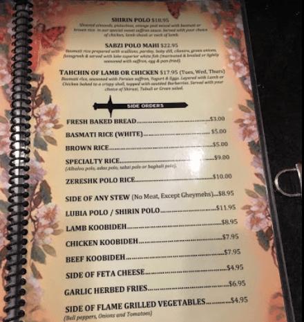 Shamshiri Grill Restaurant Los Angeles menu